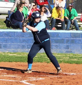 Westwood first baseman Haley Miller bats in Monday's game against Liberty