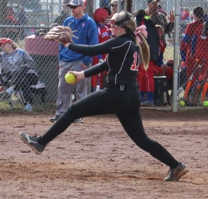 CCMS pitcher Haley Richardson delivers a pitch in preseason scrimmage action.