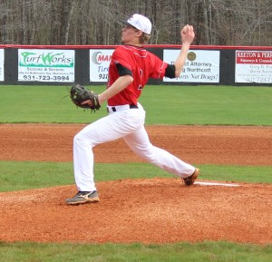 CHS senior pitcher J.P. Duncan fires a pitch during Saturday's game with Stratford