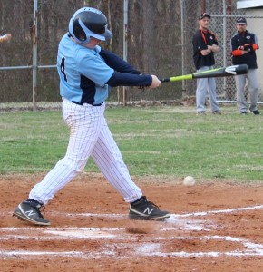 Westwood's Jacob Garms follows thru on an infield hit from early season action