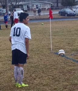 Juan Penaloza of Westwood prepares to take a corner kick against Tullahoma during Tuesday's middle school match.