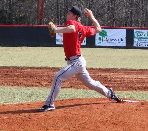Kohl Young delivers a pitch in scrimmage action on Saturday