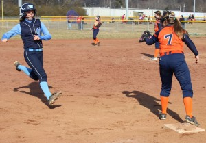 Sarah West of Westwood Middle legs out a triple on Saturday in scrimmage action at Lynchburg against Fayetteville