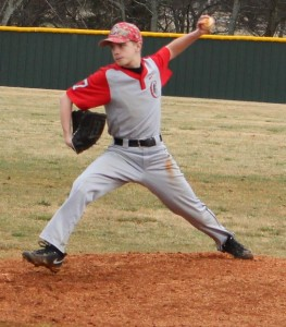 CCMS pitcher Scottie Duke delivers a pitch from early season action