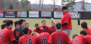 CHS baseball coach Jon Spears talks to his team prior to Saturday's scrimmage action