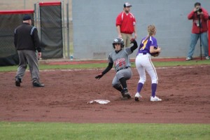 Lady Raider Shelby Giles slides in safe at 2nd base during Thursday night's game. Photo by Barry West