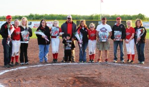 The 2015 CCMS Softball 8th graders and their families.