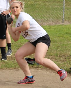 Carlie Barnes of CCMS track prepares to release the shot.