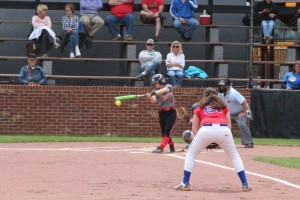 Shelby Scrivnor getting a base hit in a game last week... Photo by Barry West