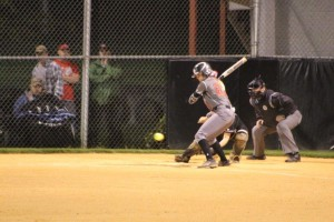 Tori Bell ready to attack a pitch on Wednesday night in Tullahoma... Photo by Barry West