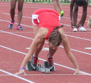 Taylor DeBerry prepares to leave the starting blocks in Thursday's 100M hurdle race at the TSSAA state track meet