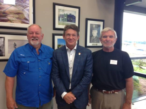 (L to R): TAA Chairman Sam Crimm, Commissioner Randy Boyd, TAA Member Col. Jim Apple at the Clayton-American City Bank Terminal at the Tullahoma Municipal Airport
