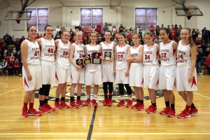 The Coffee County Middle School Lady Raiders with the 2nd place trophy following the TMSAA Middle Section State Tournament on Saturday(Photo by Jay Bailey - Manchester Times)