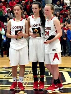 CCMS basketball players (left to right) Julia Duncan, Bella Vinson and Jenna Garretson were named to the All Tournament team following the TMSAA Middle Section State Tournament on Saturday(Photo by Jay Bailey - Manchester Times) [EDITED FROM ORIGINAL]