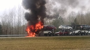 Truck was fully engulfed when firemen arrived on Sunday morning... Photo by Dennis Weaver