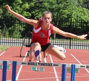 Sarah Pearson clears a hurdle on Monday at the TSSAA State Pentathlon