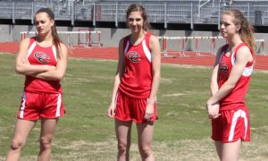 Lady Raider state track qualifiers (left to right) Sarah Pearson, Karson Young and Diana Davis
