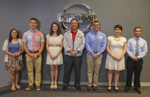 Pictured left to right are: Natalie Covington, Joshua (Mill) Harner, Jennifer Newman, Nissan Smyrna Vehicle Plant vice president Randy Knight, Andrew Salyer, Stephany Marin Restrepo and Phillip Curtis.