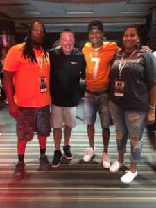 Alontae Taylor and family celebrate with Coach Butch Jones of Tennessee on Taylor's commitment to Tennessee. From left are: Daddy Taylor(father), Coach Butch Jones, Alontae Taylor, Laurie Love(mother) [Photo used with permission]
