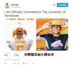 Alontae Taylor's Twitter announcement from Saturday