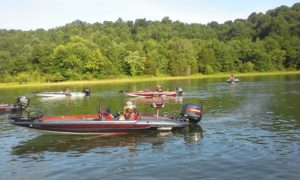 """Boats from the Coffee County Youth Bass Club """"blast off"""" on Saturday, June 18th for their 1st ever night tournament. (Photo provided by Phil Petty)"""