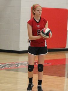 Amalia Prater prepares to serve match point for Coffee County Middle School on Thursday