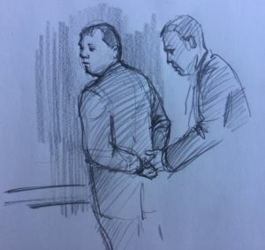 Artist rendering of Sheriff Robert Arnold being handcuffed by U.S. Marshals (Credit: Mike Sowers)... Story and picture by WGNS