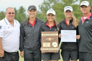 CHS Lady Raider golfers with their region tournament plaque.  Left to right are: Coach Mike Ray, Sophie Vinson, Savannah Quick, Ashley Gilliam and coach Marshall Gilliam. [Photo by DeMarco Murray - Manchester Times]