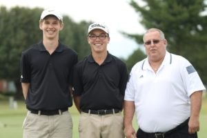 CHS Red Raider golfers (left to right) John Parigger, Samuel Prater and coach Mike Ray [Photo by DeMarco Murray - Manchester Times]