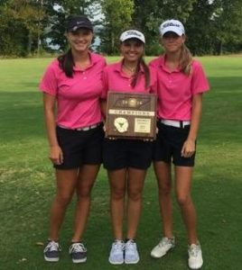 The CHS Lady Raider golf team with their district tournament plaque. Left to right - Sophie Vinson, Savannah Quick and Ashley Gilliam [Photo provided]