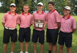 The CHS Red Raider golf team with their district tournament runner-up plaque. Left to right - Reid Lawrence, Austin Farris, John Parigger, Josh Perry and Samuel Prater [Photo provided]