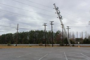 Electric pole pulled from the ground in Tullahoma.