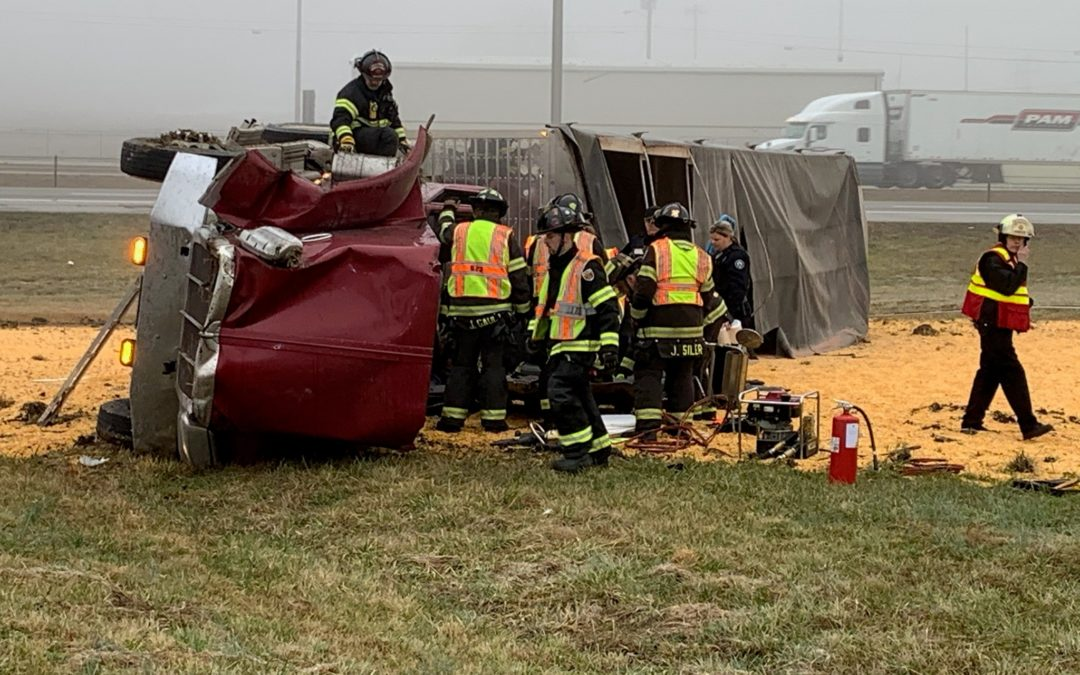 Truck overturns on I-24 in Manchester Tuesday