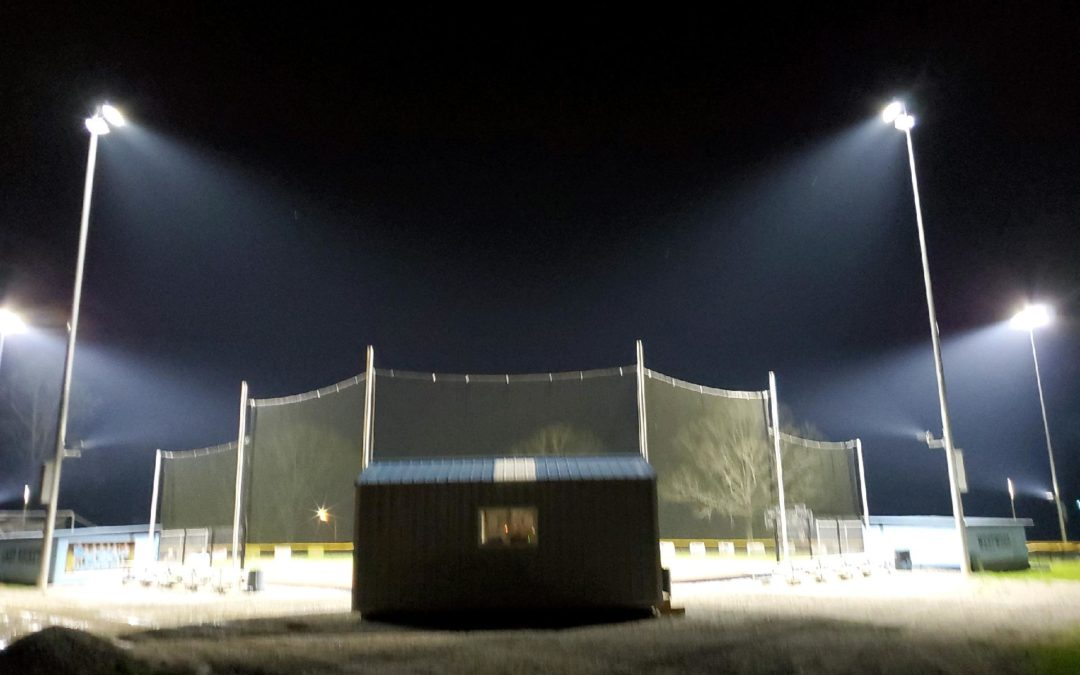 Lights Come on at Westwood Softball Field