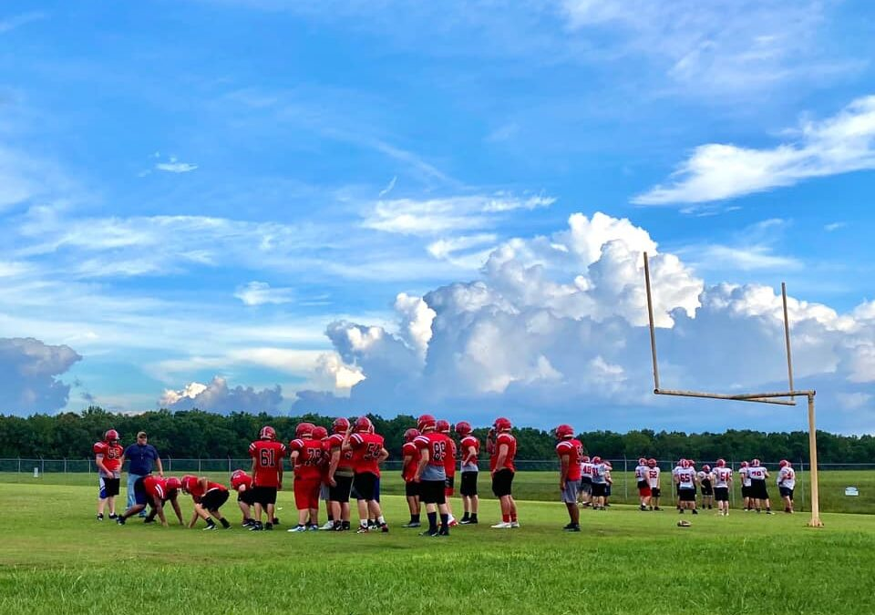 CHS football team holds first practice in helmets, shoulder pads